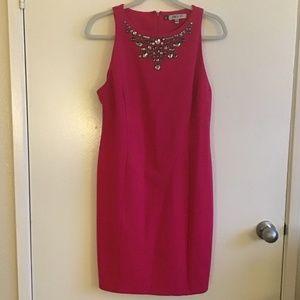 Jennifer Lopez Pink Jeweled Body Con Dress